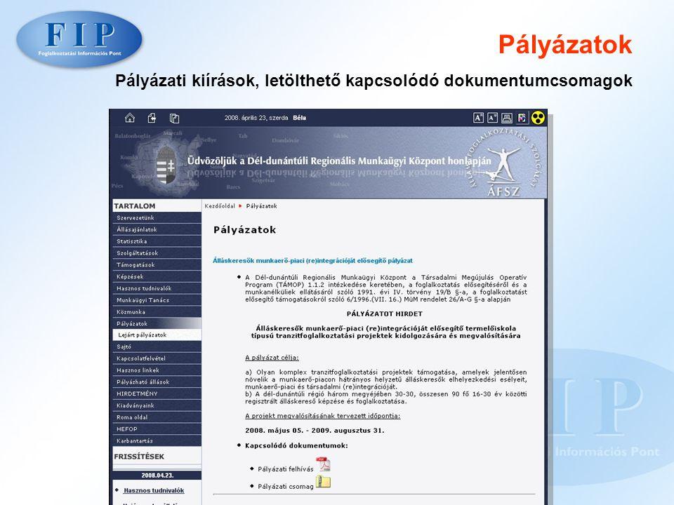 Pályázatok Pályázati kiírások, letölthető kapcsolódó dokumentumcsomagok