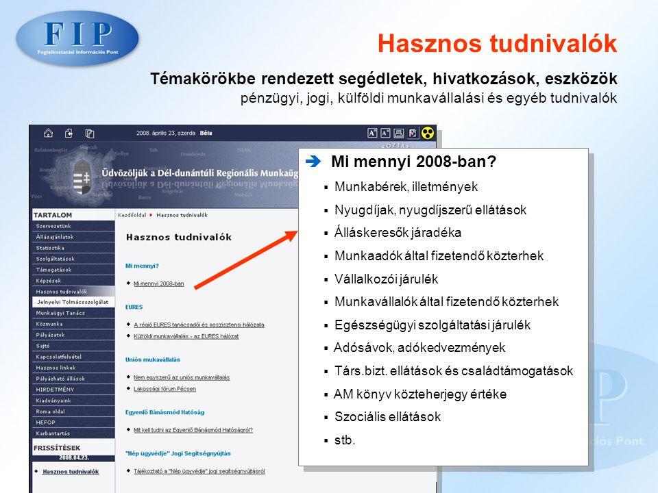Hasznos tudnivalók Témakörökbe rendezett segédletek, hivatkozások, eszközök pénzügyi, jogi, külföldi munkavállalási és egyéb tudnivalók  Mi mennyi 2008-ban.