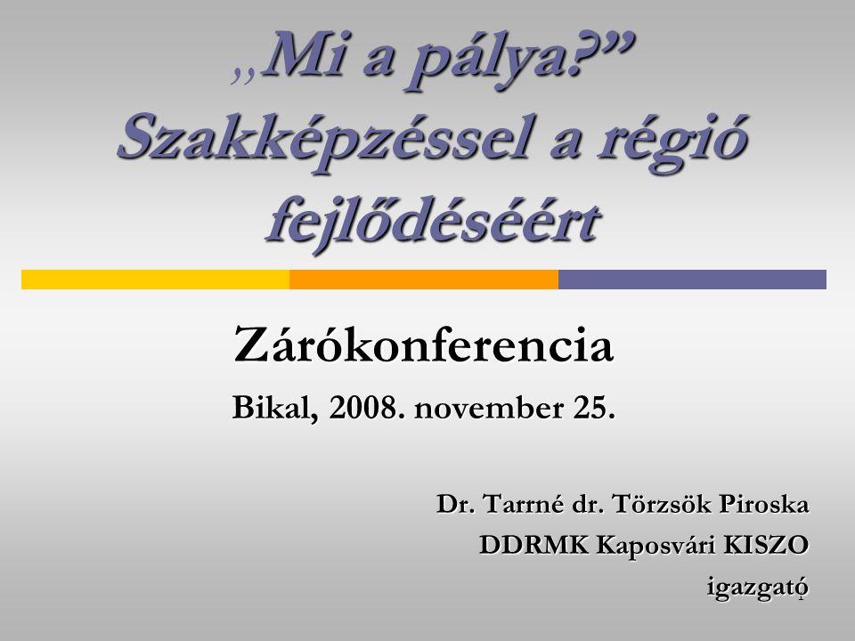 """1 Mi a pálya Szakképzéssel a régió fejlődéséért """"Mi a pálya Szakképzéssel a régió fejlődéséértZárókonferencia Bikal, 2008."""
