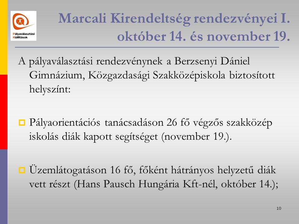 10 Marcali Kirendeltség rendezvényei I. október 14.
