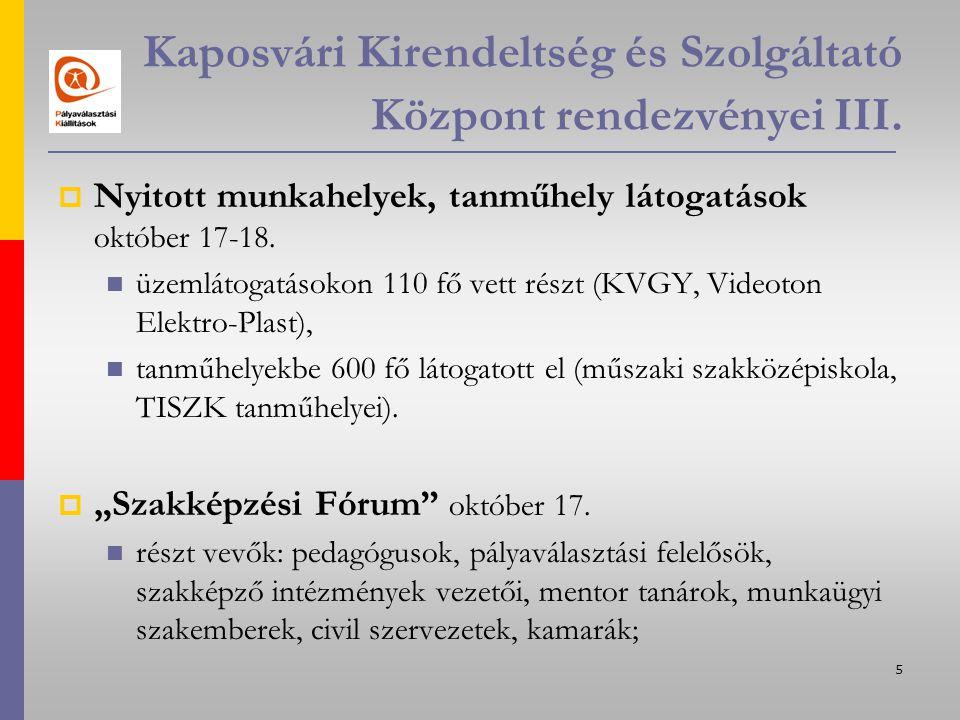 6 Kaposvári Kirendeltség és Szolgáltató Központ rendezvényei IV.