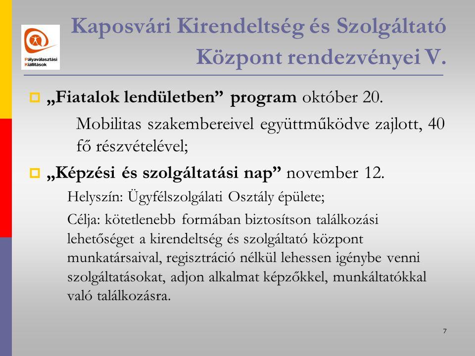 8 Kaposvári Kirendeltség és Szolgáltató Központ rendezvényei VI.