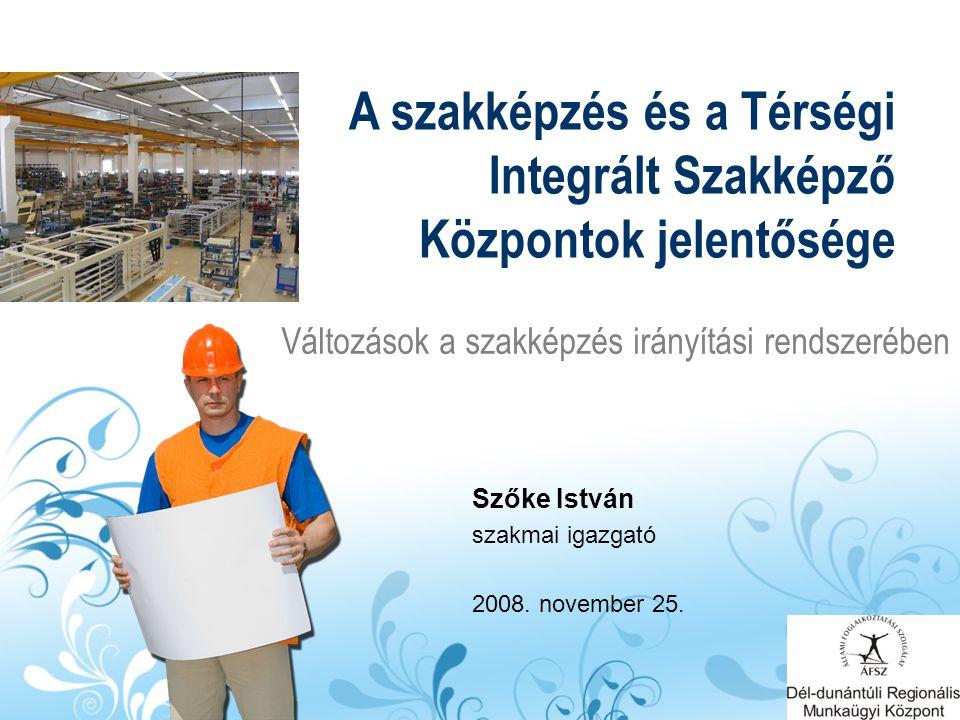 Változások a szakképzés irányítási rendszerében A szakképzés és a Térségi Integrált Szakképző Központok jelentősége Szőke István szakmai igazgató 2008.