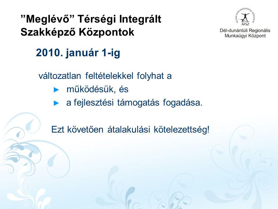Meglévő Térségi Integrált Szakképző Központok 2010.