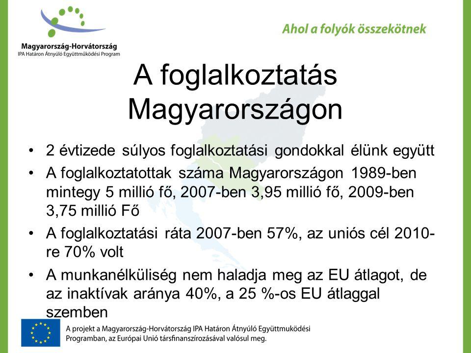 A foglalkoztatás Magyarországon 2 évtizede súlyos foglalkoztatási gondokkal élünk együtt A foglalkoztatottak száma Magyarországon 1989-ben mintegy 5 millió fő, 2007-ben 3,95 millió fő, 2009-ben 3,75 millió Fő A foglalkoztatási ráta 2007-ben 57%, az uniós cél 2010- re 70% volt A munkanélküliség nem haladja meg az EU átlagot, de az inaktívak aránya 40%, a 25 %-os EU átlaggal szemben
