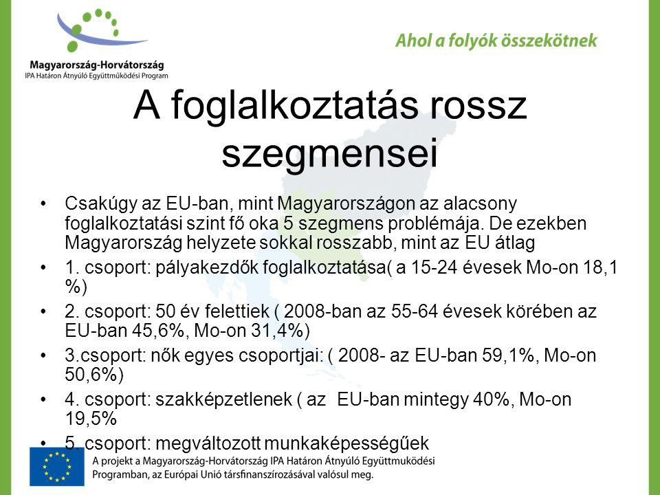 Az Európai Foglalkoztatási stratégia Cél a 70%-os foglalkoztatási szint Eszközök: - A hátrányos helyzetű célcsoportok támogatása - Az információ többlet és az NGO szervezetek közreműködése a munkaerő-közvetítésben és az azt segítő szolgáltatásokban