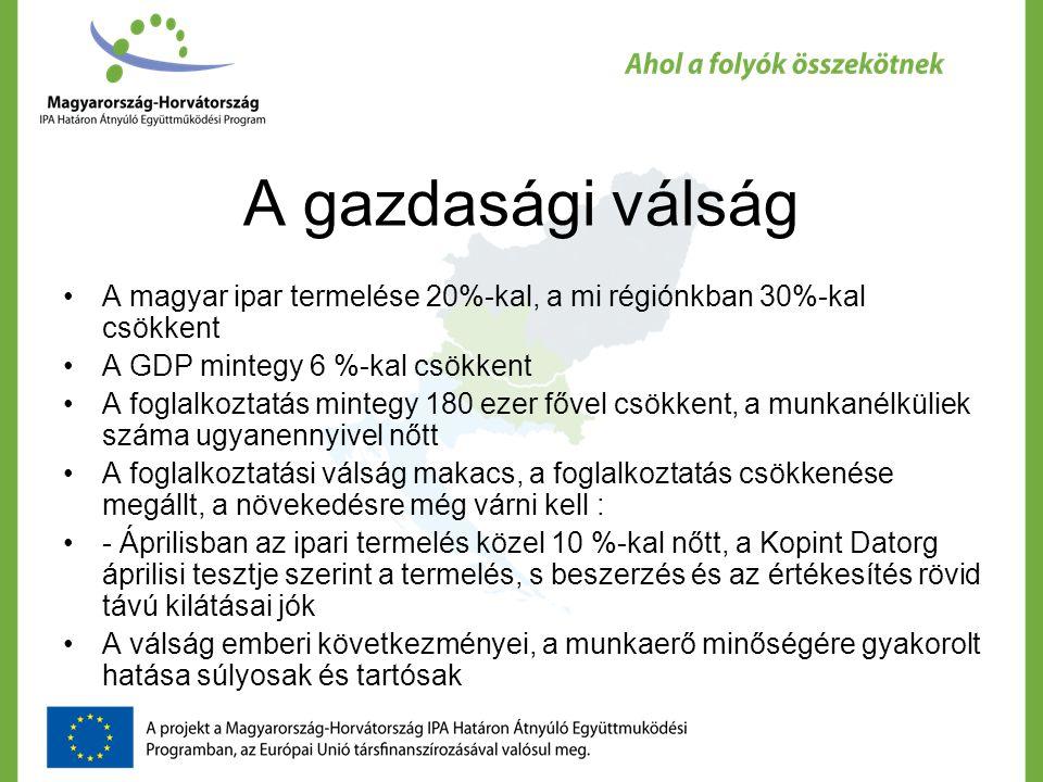 A gazdasági válság A magyar ipar termelése 20%-kal, a mi régiónkban 30%-kal csökkent A GDP mintegy 6 %-kal csökkent A foglalkoztatás mintegy 180 ezer fővel csökkent, a munkanélküliek száma ugyanennyivel nőtt A foglalkoztatási válság makacs, a foglalkoztatás csökkenése megállt, a növekedésre még várni kell : - Áprilisban az ipari termelés közel 10 %-kal nőtt, a Kopint Datorg áprilisi tesztje szerint a termelés, s beszerzés és az értékesítés rövid távú kilátásai jók A válság emberi következményei, a munkaerő minőségére gyakorolt hatása súlyosak és tartósak