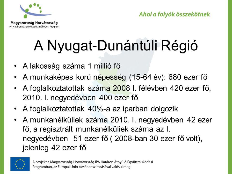A Nyugat-Dunántúli Régió A lakosság száma 1 millió fő A munkaképes korú népesség (15-64 év): 680 ezer fő A foglalkoztatottak száma 2008 I.