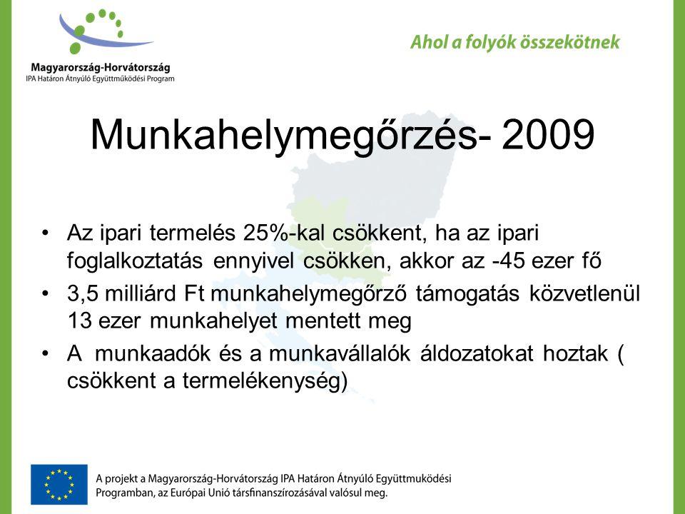 Foglalkoztatás fejlesztés Nemzeti forrásokból: a decFa 2008-ban 3 milliárd Ft, 2009-ben 1,5 milliárd Ft, 2010-ben 1,7 milliárd Ft EU-s forrásból: 2008-ban 1 milliárd Ft, 2009-ben 1,5 milliárd Ft, 2010-ben talán 3-3,5 milliárd Ft Kritikus kérdés: jó célra és jó módszerrel használjuk-e fel ezt a pénzt?