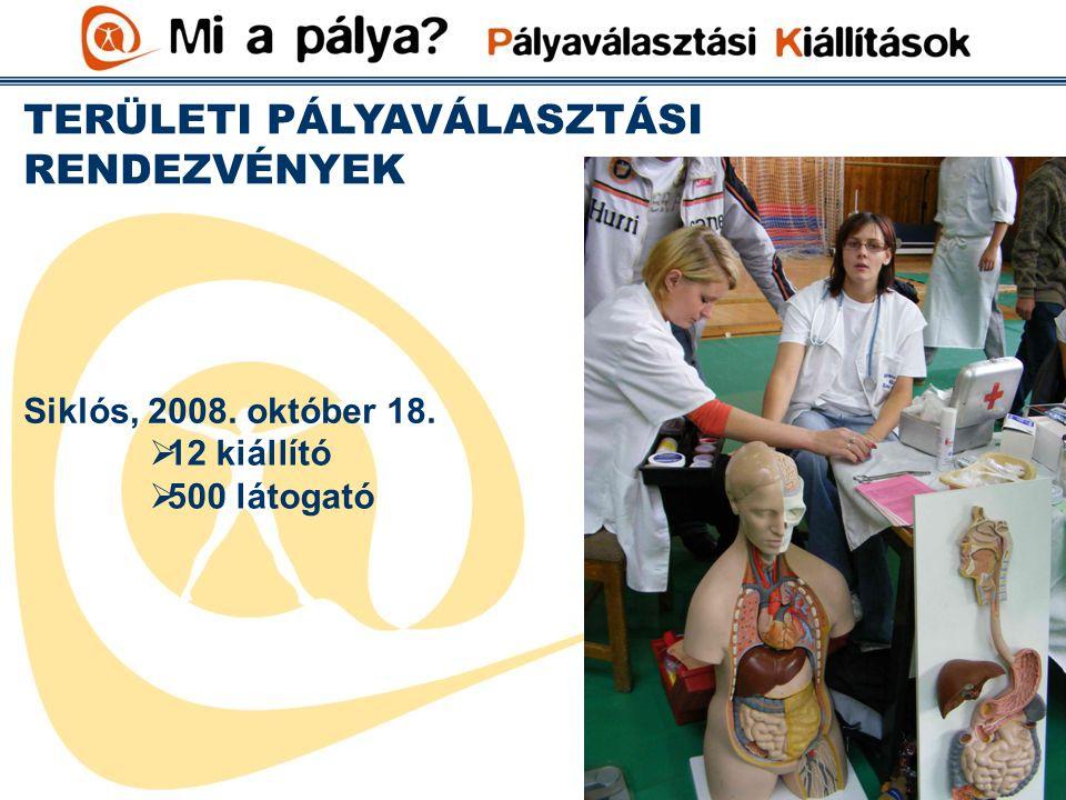 TERÜLETI PÁLYAVÁLASZTÁSI RENDEZVÉNYEK Siklós, 2008. október 18.  12 kiállító  500 látogató