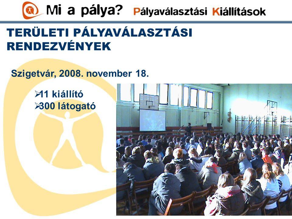 TERÜLETI PÁLYAVÁLASZTÁSI RENDEZVÉNYEK Szigetvár, 2008. november 18.  11 kiállító  300 látogató