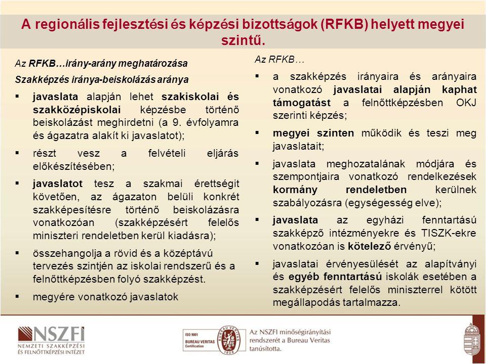 A region á lis fejleszt é si é s k é pz é si bizotts á gok (RFKB) helyett megyei szintű. Az RFKB…irány-arány meghatározása Szakképzés iránya-beiskoláz