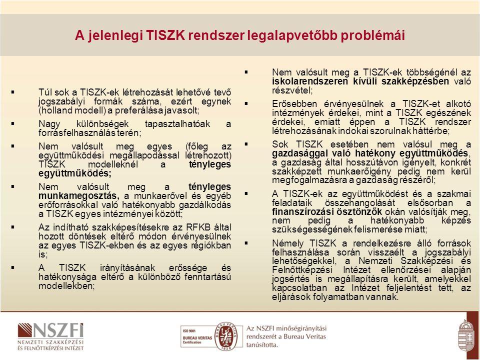 A jelenlegi TISZK rendszer legalapvetőbb problémái  Túl sok a TISZK-ek létrehozását lehetővé tevő jogszabályi formák száma, ezért egynek (holland mod