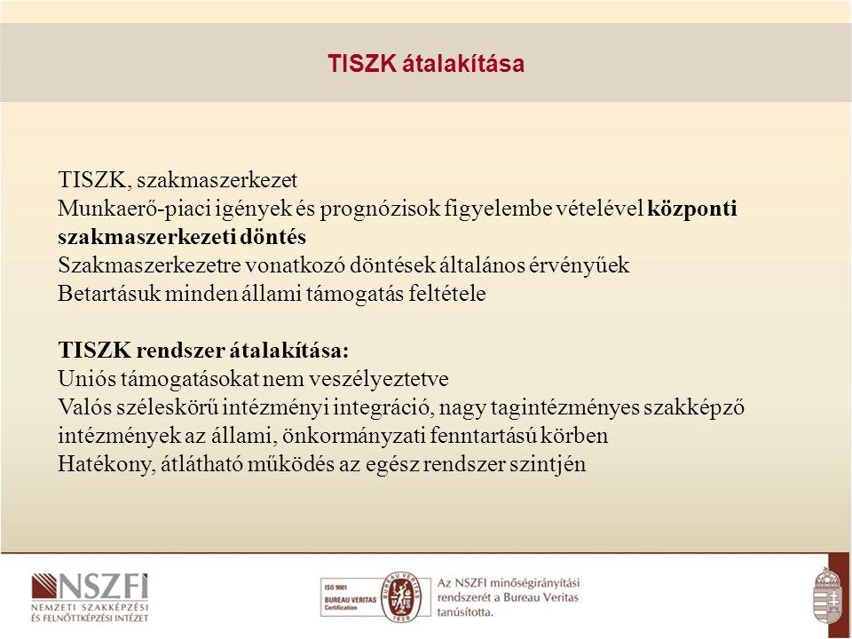 TISZK átalakítása TISZK, szakmaszerkezet Munkaerő-piaci igények és prognózisok figyelembe vételével központi szakmaszerkezeti döntés Szakmaszerkezetre