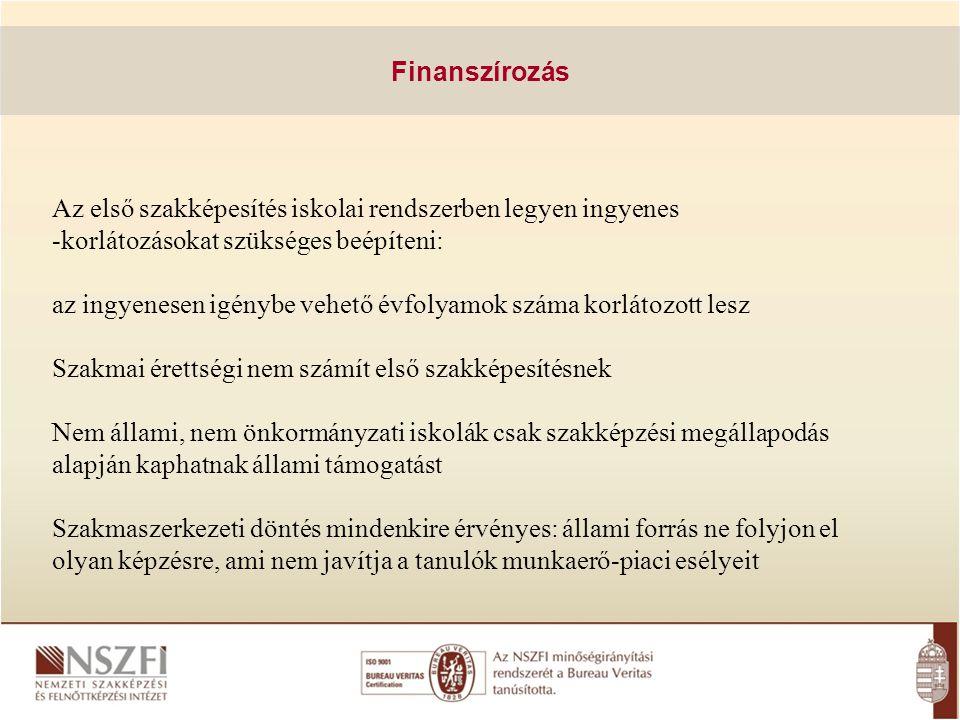 Finanszírozás Az első szakképesítés iskolai rendszerben legyen ingyenes -korlátozásokat szükséges beépíteni: az ingyenesen igénybe vehető évfolyamok s
