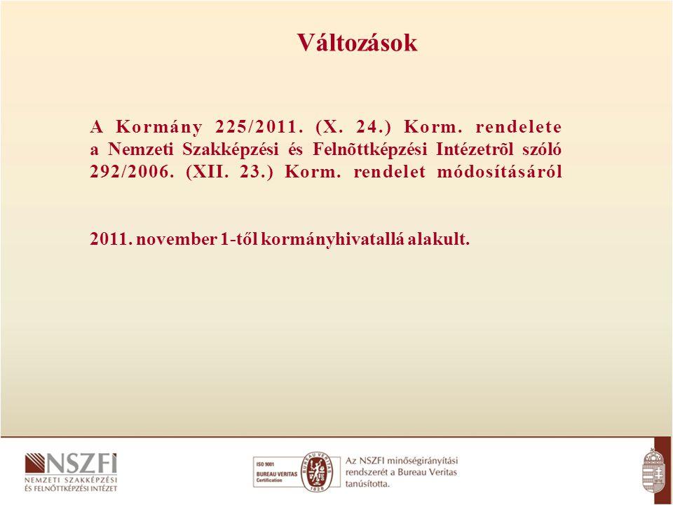 Változások A Kormány 225/2011. (X. 24.) Korm. rendelete a Nemzeti Szakképzési és Felnõttképzési Intézetrõl szóló 292/2006. (XII. 23.) Korm. rendelet m