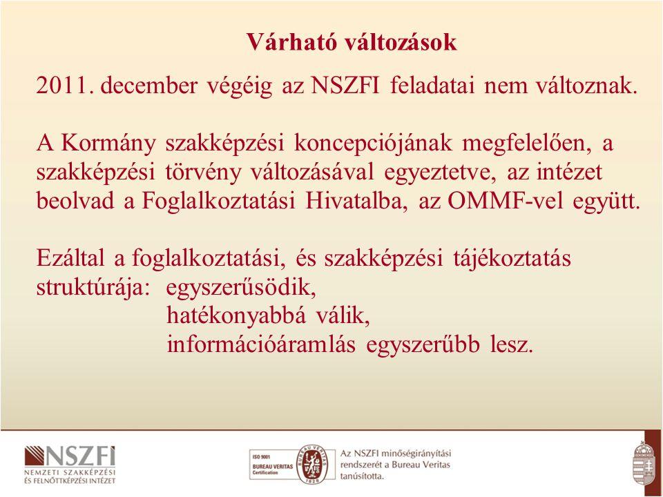 Várható változások 2011. december végéig az NSZFI feladatai nem változnak. A Kormány szakképzési koncepciójának megfelelően, a szakképzési törvény vál