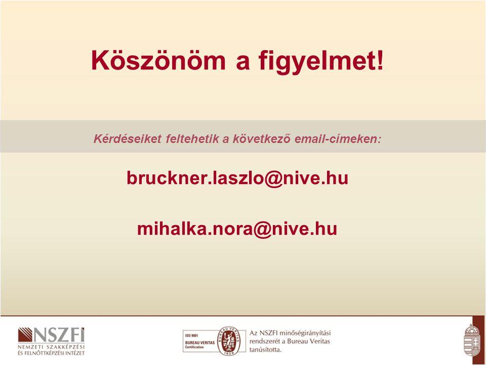 Köszönöm a figyelmet! Kérdéseiket feltehetik a következő email-címeken: bruckner.laszlo@nive.hu mihalka.nora@nive.hu