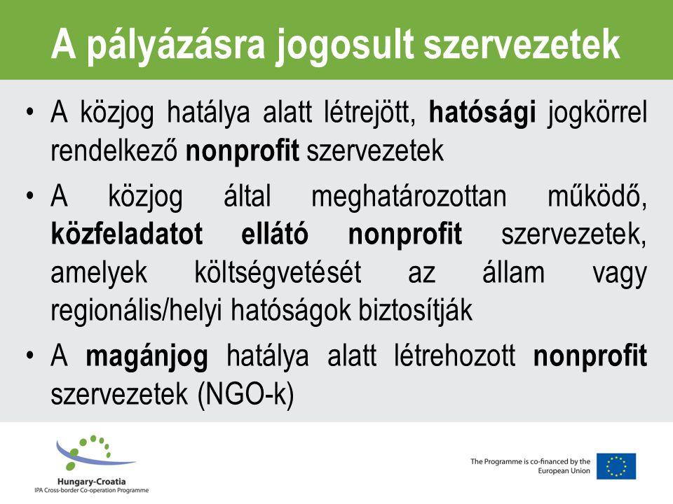 A pályázásra jogosult szervezetek A közjog hatálya alatt létrejött, hatósági jogkörrel rendelkező nonprofit szervezetek A közjog által meghatározottan működő, közfeladatot ellátó nonprofit szervezetek, amelyek költségvetését az állam vagy regionális/helyi hatóságok biztosítják A magánjog hatálya alatt létrehozott nonprofit szervezetek (NGO-k)