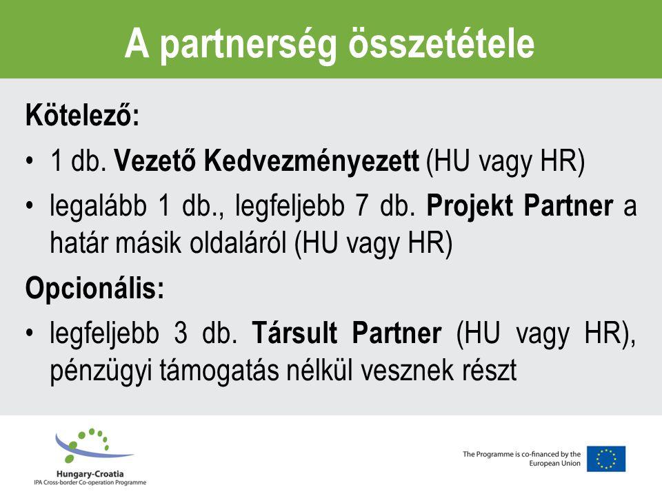 A partnerség összetétele Kötelező: 1 db.