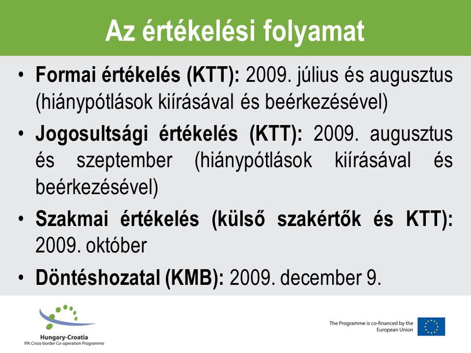 Az értékelési folyamat Formai értékelés (KTT): 2009.