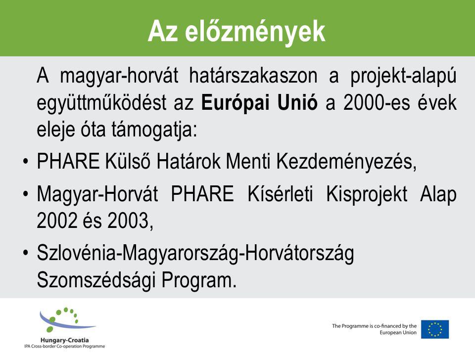Az előzmények A magyar-horvát határszakaszon a projekt-alapú együttműködést az Európai Unió a 2000-es évek eleje óta támogatja: PHARE Külső Határok Menti Kezdeményezés, Magyar-Horvát PHARE Kísérleti Kisprojekt Alap 2002 és 2003, Szlovénia-Magyarország-Horvátország Szomszédsági Program.