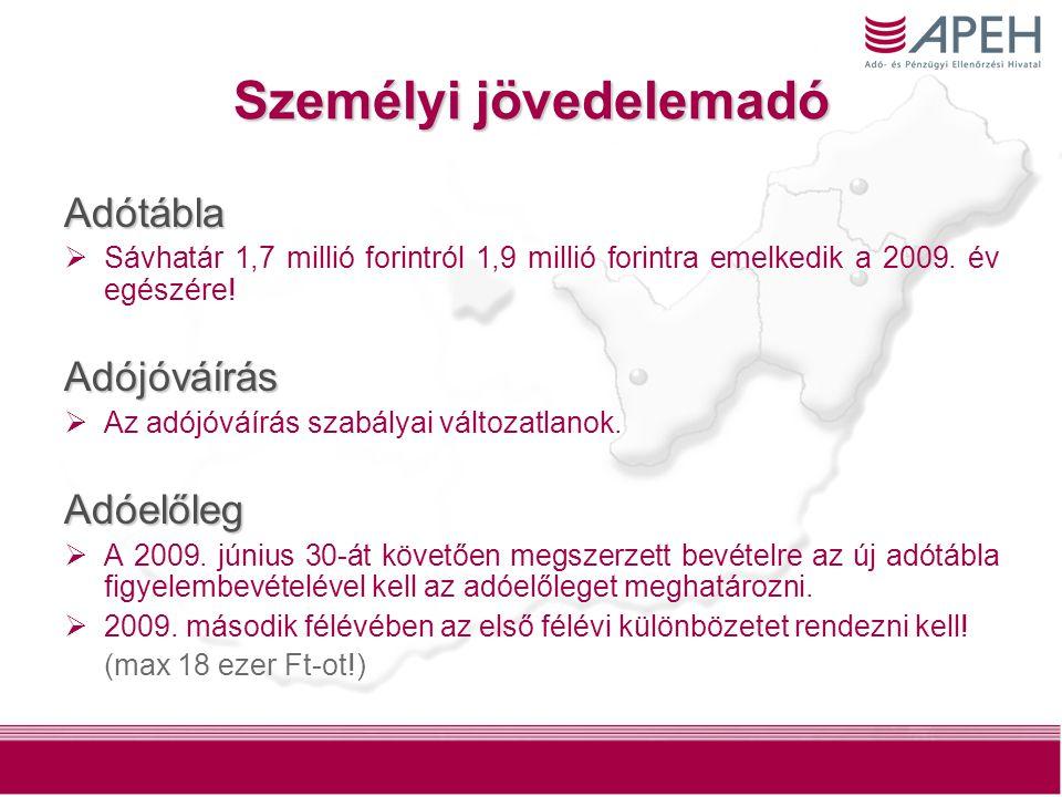 Személyi jövedelemadó Adótábla  Sávhatár 1,7 millió forintról 1,9 millió forintra emelkedik a 2009. év egészére!Adójóváírás  Az adójóváírás szabálya