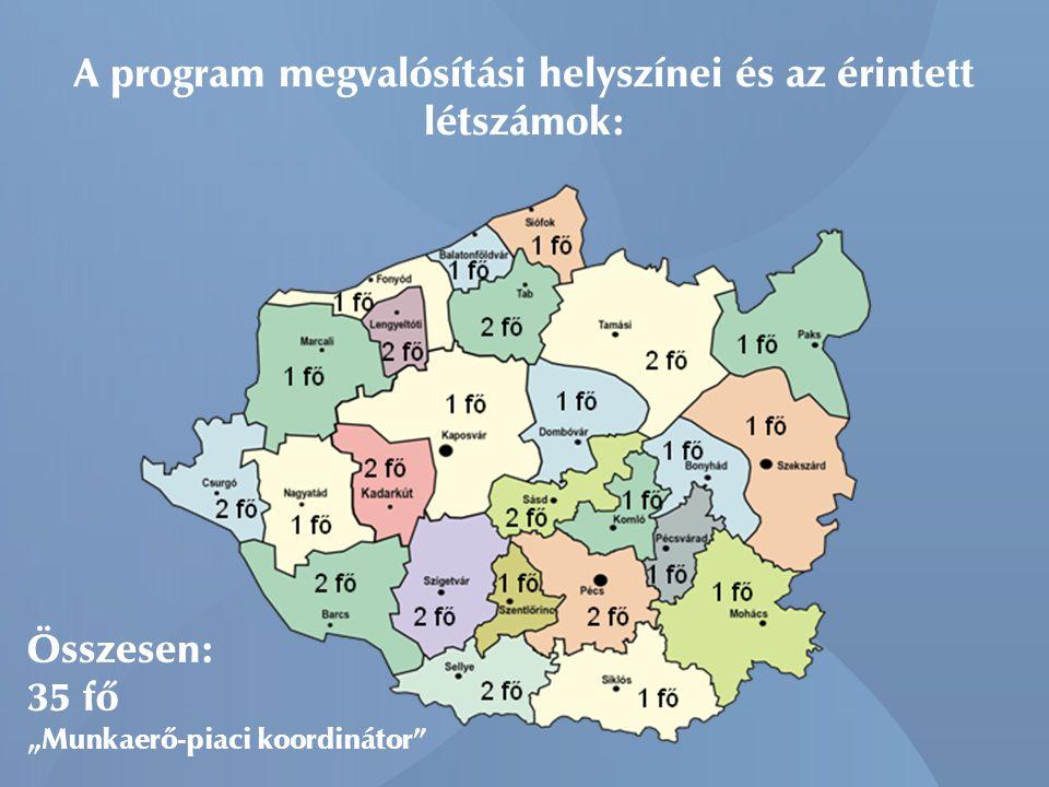 """A program megvalósítási helyszínei és az érintett létszámok: Összesen: 35 fő """"Munkaerő-piaci koordinátor"""