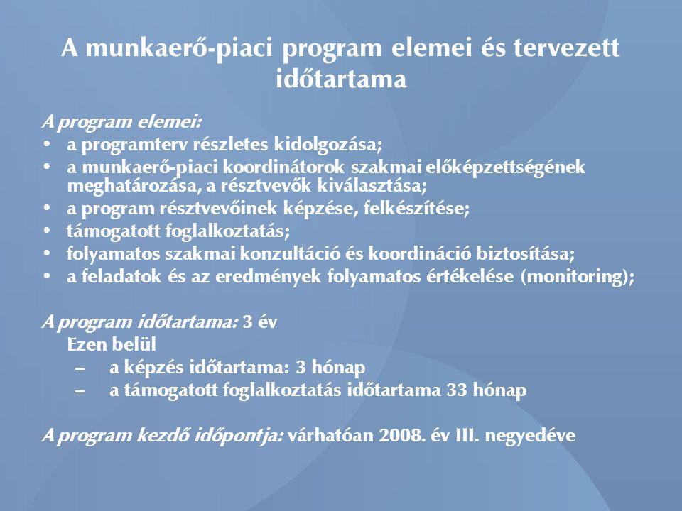A munkaerő-piaci program elemei és tervezett időtartama A program elemei: a programterv részletes kidolgozása; a munkaerő-piaci koordinátorok szakmai előképzettségének meghatározása, a résztvevők kiválasztása; a program résztvevőinek képzése, felkészítése; támogatott foglalkoztatás; folyamatos szakmai konzultáció és koordináció biztosítása; a feladatok és az eredmények folyamatos értékelése (monitoring); A program időtartama: 3 év Ezen belül – a képzés időtartama: 3 hónap – a támogatott foglalkoztatás időtartama 33 hónap A program kezdő időpontja: várhatóan 2008.