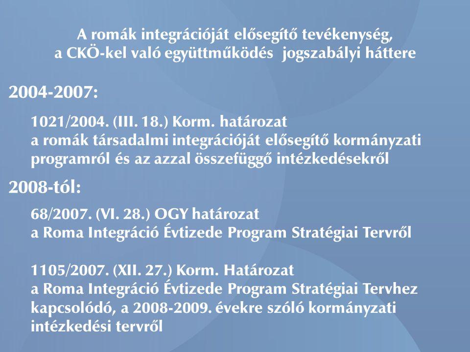 A romák integrációját elősegítő tevékenység, a CKÖ-kel való együttműködés jogszabályi háttere 1021/2004.