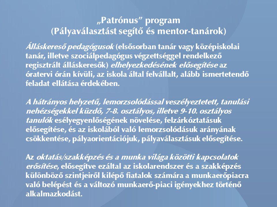 """""""Patrónus program (Pályaválasztást segítő és mentor-tanárok) Álláskereső pedagógusok (elsősorban tanár vagy középiskolai tanár, illetve szociálpedagógus végzettséggel rendelkező regisztrált álláskeresők) elhelyezkedésének elősegítése az óratervi órán kívüli, az iskola által felvállalt, alább ismertetendő feladat ellátása érdekében."""