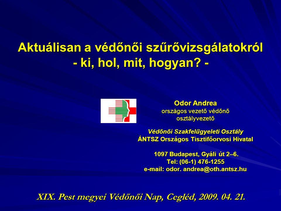 Aktuálisan a védőnői szűrővizsgálatokról - ki, hol, mit, hogyan? - Odor Andrea országos vezető védőnő osztályvezető Védőnői Szakfelügyeleti Osztály ÁN