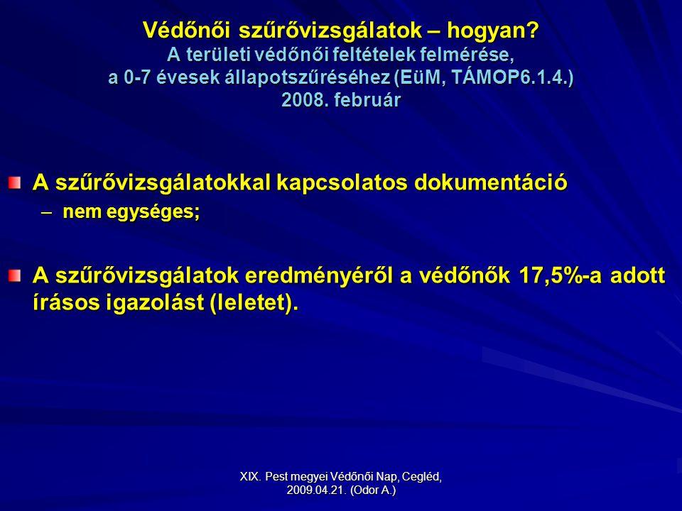 XIX. Pest megyei Védőnői Nap, Cegléd, 2009.04.21. (Odor A.) Védőnői szűrővizsgálatok – hogyan? A területi védőnői feltételek felmérése, a 0-7 évesek á