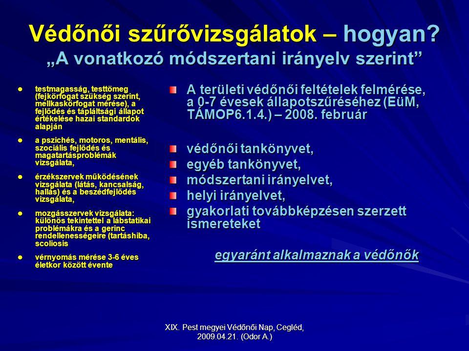 """XIX. Pest megyei Védőnői Nap, Cegléd, 2009.04.21. (Odor A.) Védőnői szűrővizsgálatok – hogyan? """"A vonatkozó módszertani irányelv szerint"""" testmagasság"""