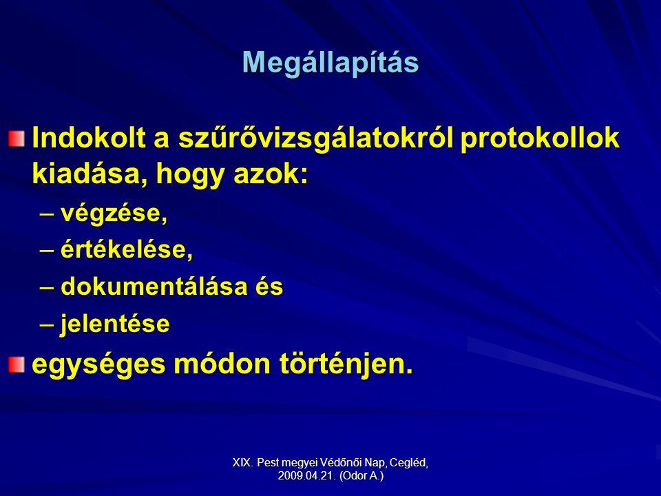XIX. Pest megyei Védőnői Nap, Cegléd, 2009.04.21. (Odor A.) Megállapítás Indokolt a szűrővizsgálatokról protokollok kiadása, hogy azok: –végzése, –ért