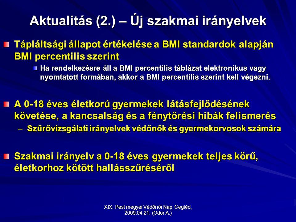 XIX. Pest megyei Védőnői Nap, Cegléd, 2009.04.21. (Odor A.) Aktualitás (2.) – Új szakmai irányelvek Tápláltsági állapot értékelése a BMI standardok al