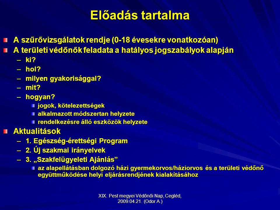 XIX. Pest megyei Védőnői Nap, Cegléd, 2009.04.21. (Odor A.) Előadás tartalma A szűrővizsgálatok rendje (0-18 évesekre vonatkozóan) A területi védőnők