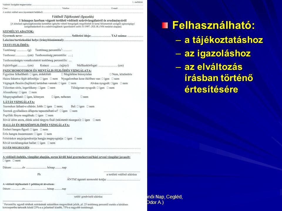 XIX. Pest megyei Védőnői Nap, Cegléd, 2009.04.21. (Odor A.) Felhasználható: –a tájékoztatáshoz –az igazoláshoz –az elváltozás írásban történő értesíté