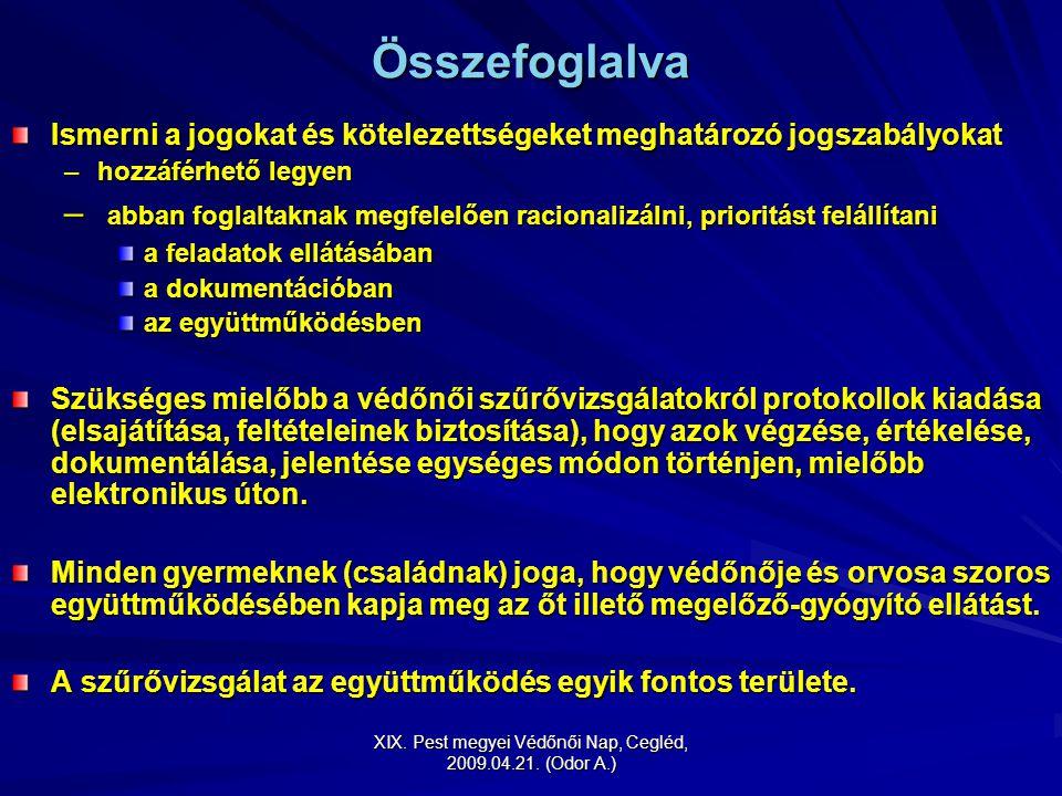 XIX. Pest megyei Védőnői Nap, Cegléd, 2009.04.21. (Odor A.) Összefoglalva Ismerni a jogokat és kötelezettségeket meghatározó jogszabályokat –hozzáférh