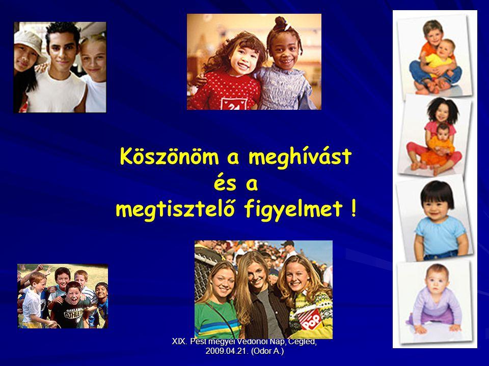 XIX. Pest megyei Védőnői Nap, Cegléd, 2009.04.21. (Odor A.) Köszönöm a meghívást és a megtisztelő figyelmet !