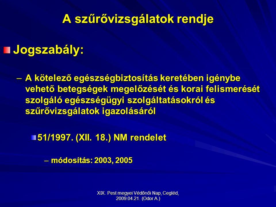 XIX. Pest megyei Védőnői Nap, Cegléd, 2009.04.21. (Odor A.) A szűrővizsgálatok rendje Jogszabály: –A kötelező egészségbiztosítás keretében igénybe veh