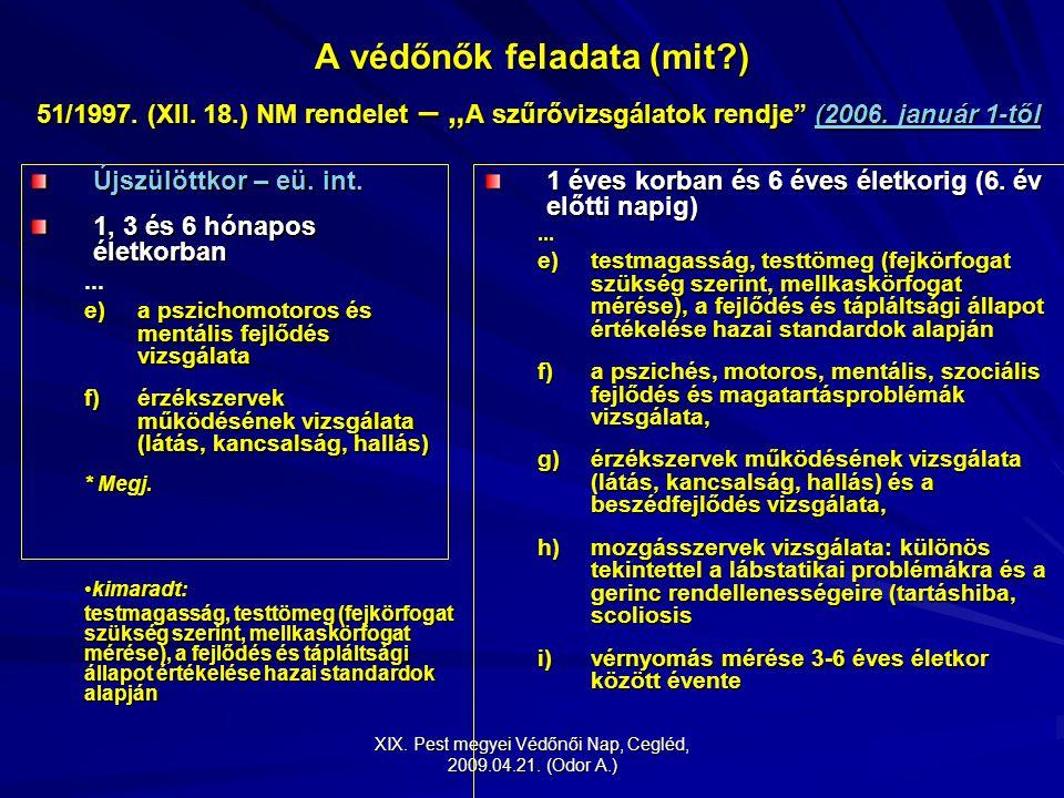 """XIX. Pest megyei Védőnői Nap, Cegléd, 2009.04.21. (Odor A.) A védőnők feladata (mit?) 51/1997. (XII. 18.) NM rendelet – """" A szűrővizsgálatok rendje"""" ("""