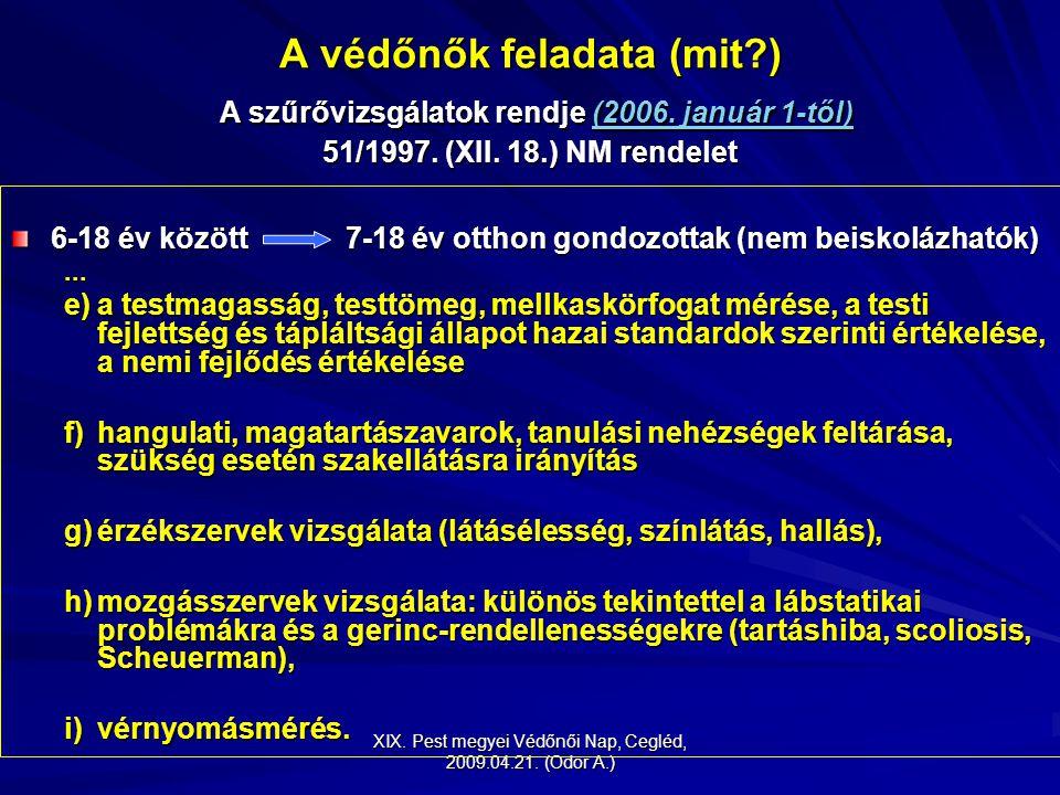 XIX. Pest megyei Védőnői Nap, Cegléd, 2009.04.21. (Odor A.) A védőnők feladata (mit?) A szűrővizsgálatok rendje (2006. január 1-től) 51/1997. (XII. 18