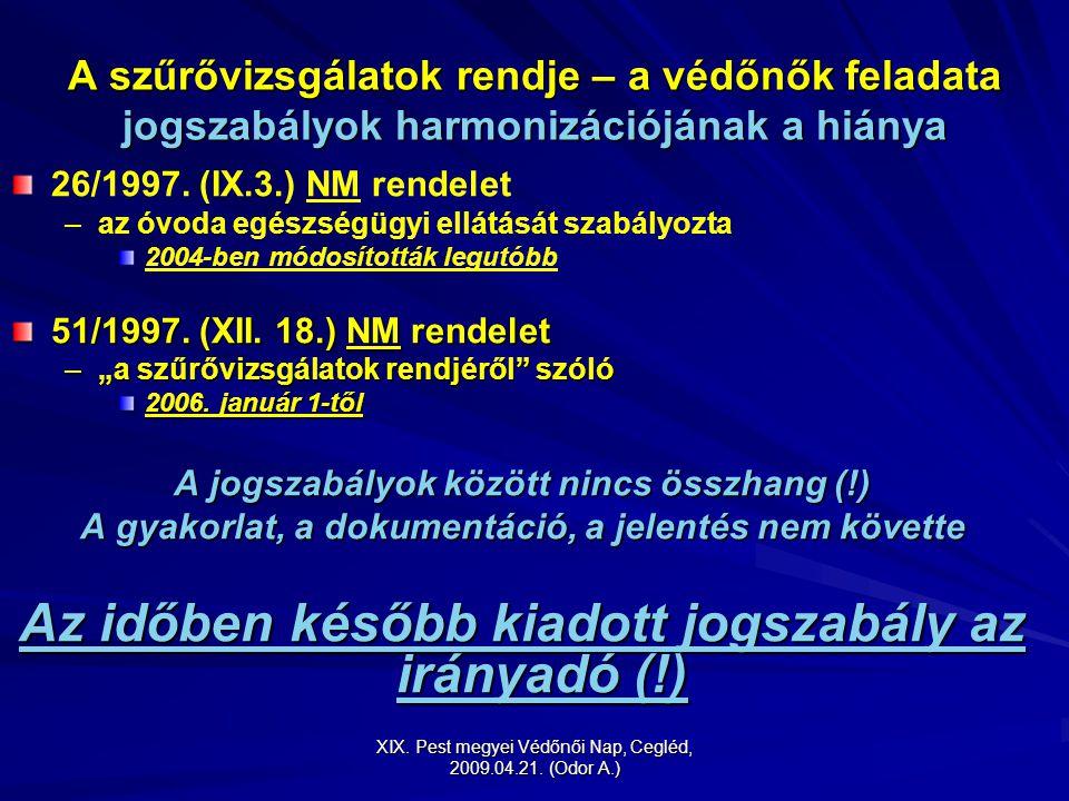 XIX. Pest megyei Védőnői Nap, Cegléd, 2009.04.21. (Odor A.) A szűrővizsgálatok rendje – a védőnők feladata jogszabályok harmonizációjának a hiánya 26/