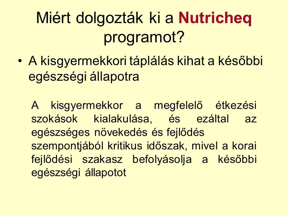 Miért dolgozták ki a Nutricheq programot? A kisgyermekkori táplálás kihat a későbbi egészségi állapotra A kisgyermekkor a megfelelő étkezési szokások