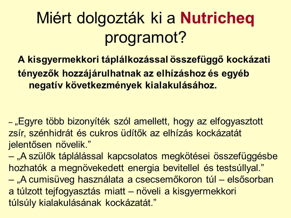 Miért dolgozták ki a Nutricheq programot? A kisgyermekkori táplálkozással összefüggő kockázati tényezők hozzájárulhatnak az elhízáshoz és egyéb negatí