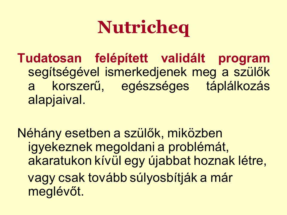 Nutricheq Tudatosan felépített validált program segítségével ismerkedjenek meg a szülők a korszerű, egészséges táplálkozás alapjaival. Néhány esetben