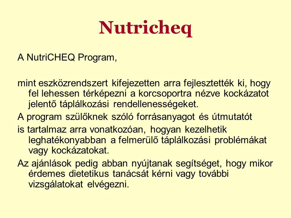 Nutricheq A NutriCHEQ Program, mint eszközrendszert kifejezetten arra fejlesztették ki, hogy fel lehessen térképezni a korcsoportra nézve kockázatot jelentő táplálkozási rendellenességeket.
