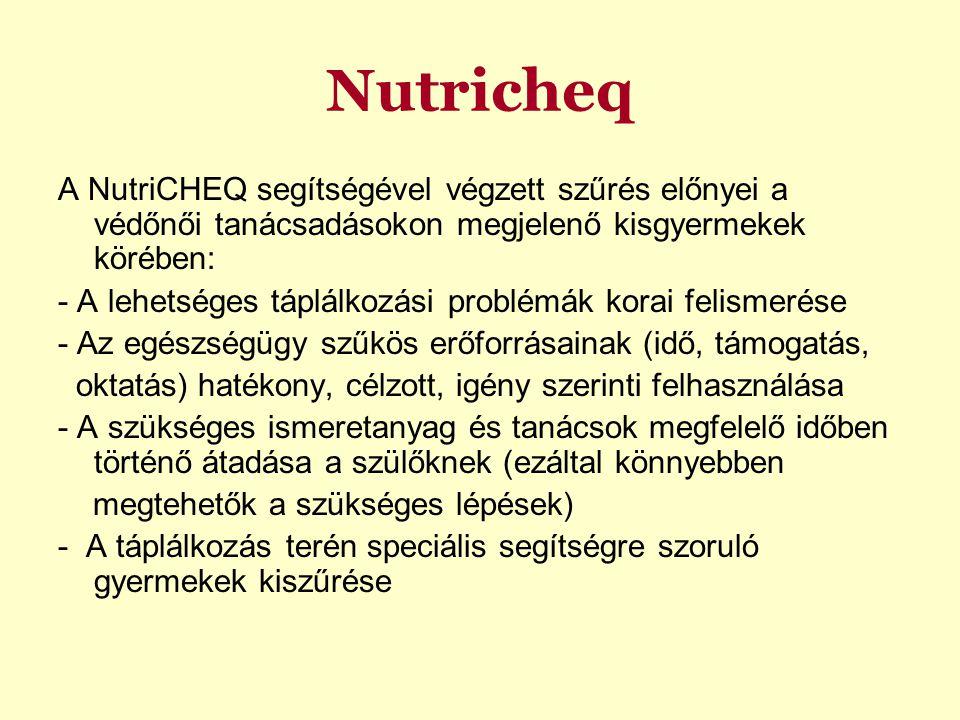Nutricheq A NutriCHEQ segítségével végzett szűrés előnyei a védőnői tanácsadásokon megjelenő kisgyermekek körében: - A lehetséges táplálkozási problémák korai felismerése - Az egészségügy szűkös erőforrásainak (idő, támogatás, oktatás) hatékony, célzott, igény szerinti felhasználása - A szükséges ismeretanyag és tanácsok megfelelő időben történő átadása a szülőknek (ezáltal könnyebben megtehetők a szükséges lépések) - A táplálkozás terén speciális segítségre szoruló gyermekek kiszűrése