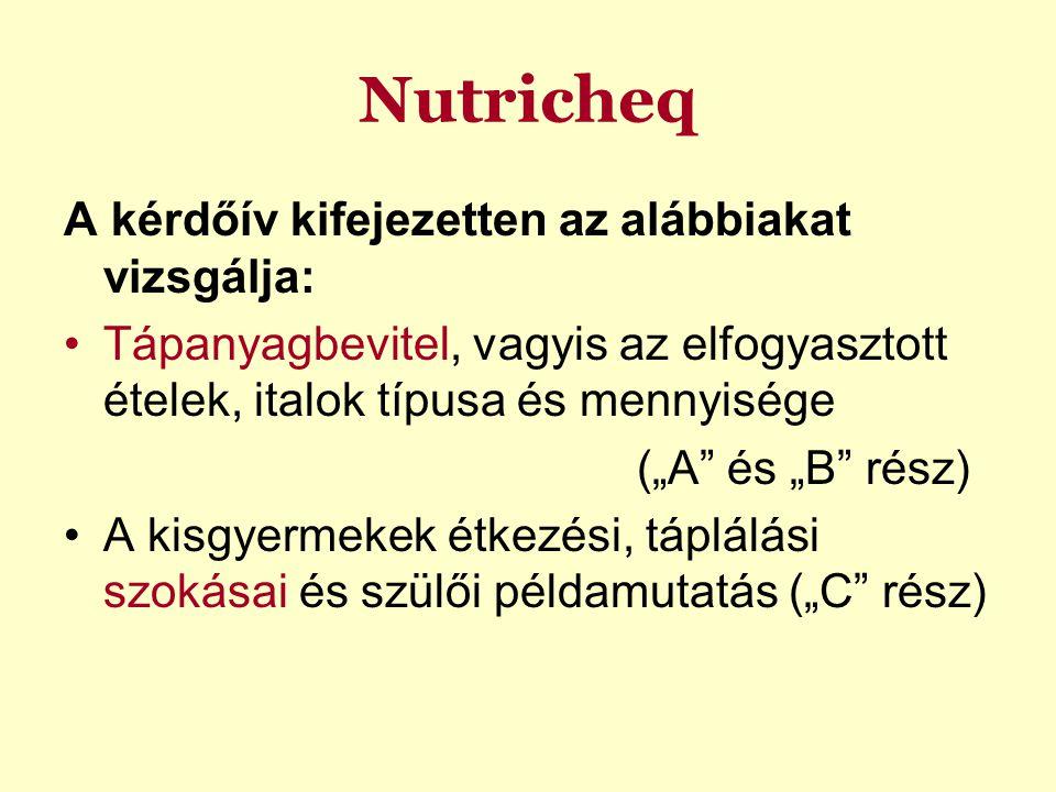 """Nutricheq A kérdőív kifejezetten az alábbiakat vizsgálja: Tápanyagbevitel, vagyis az elfogyasztott ételek, italok típusa és mennyisége (""""A"""" és """"B"""" rés"""